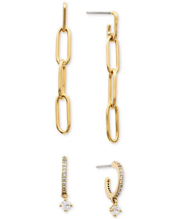 AVA NADRI 2-Pc. Set Chain Drop Earrings & Cubic Zirconia Dangle Hoop Earrings & Reviews - Earrings - Jewelry & Watches - Macy's