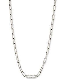 "AVA NADRI Cubic Zirconia Oval Link Chain Collar Necklace, 16"" + 2"" extender"