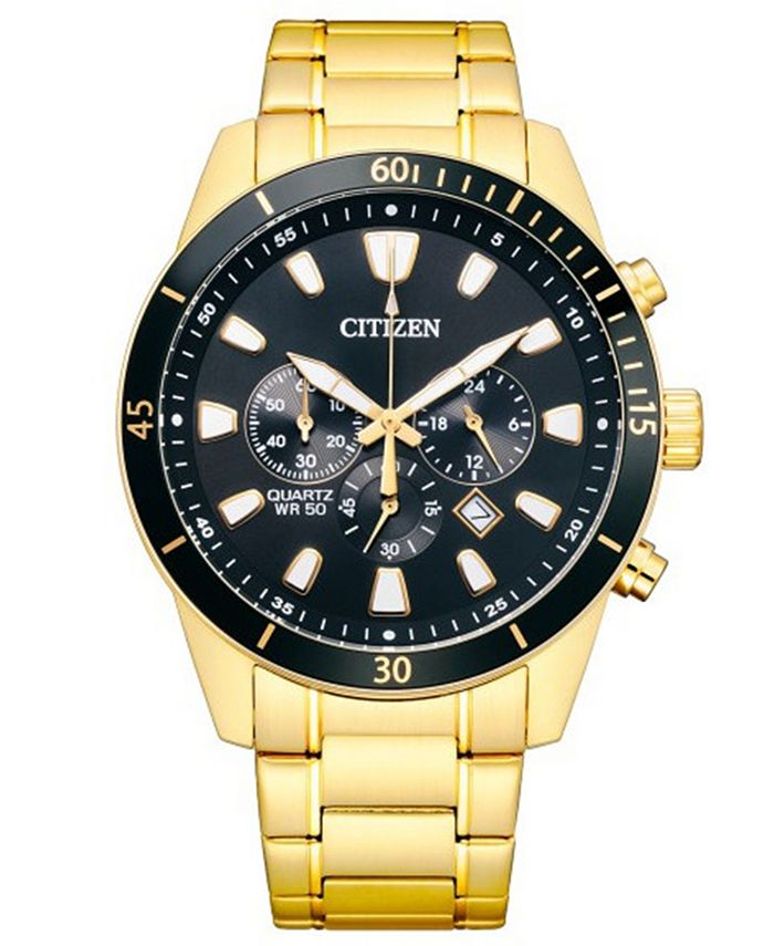 Citizen - Men's Chronograph Gold-Tone Stainless Steel Bracelet Watch 44mm