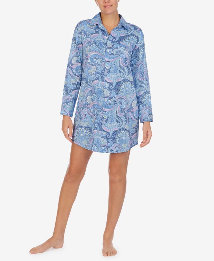Lauren Ralph Lauren Printed Woven Sleep Shirt & Reviews - Bras, Panties & Lingerie - Women - Macy's