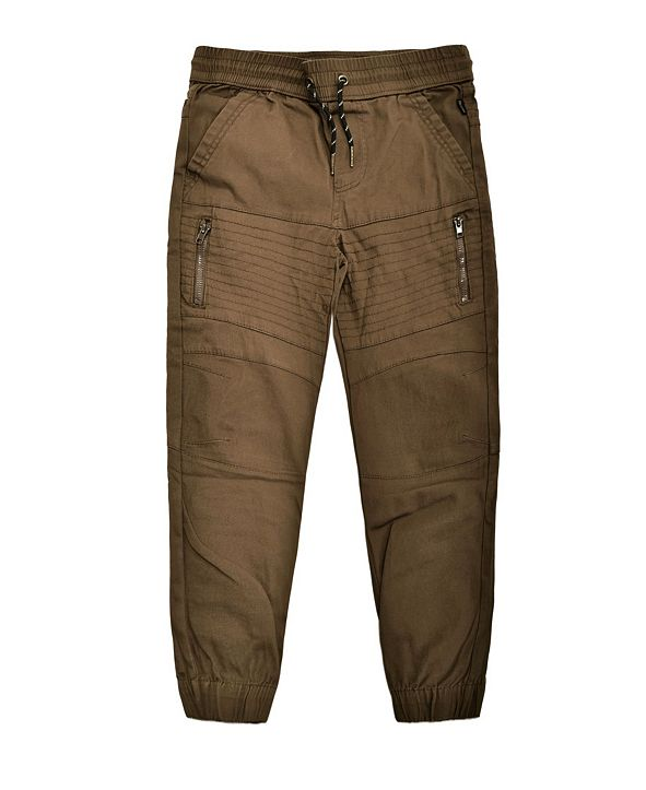 Ring of Fire Big Boys Biker Moto Stretch Twill Jogger with Zippers