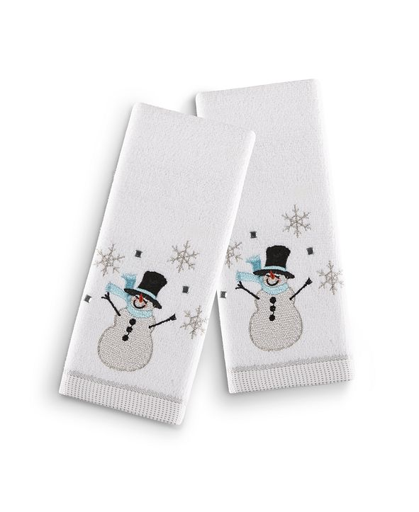"Martha Stewart Collection Silver Snowman 2-Pc. 11"" x 18"" Fingertip Towel Set, Created for Macy's"