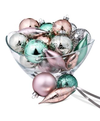 Shimmer and Light Gold, Green, Pink & Silver Glass Ornaments, Set of 22, Created for Macy's