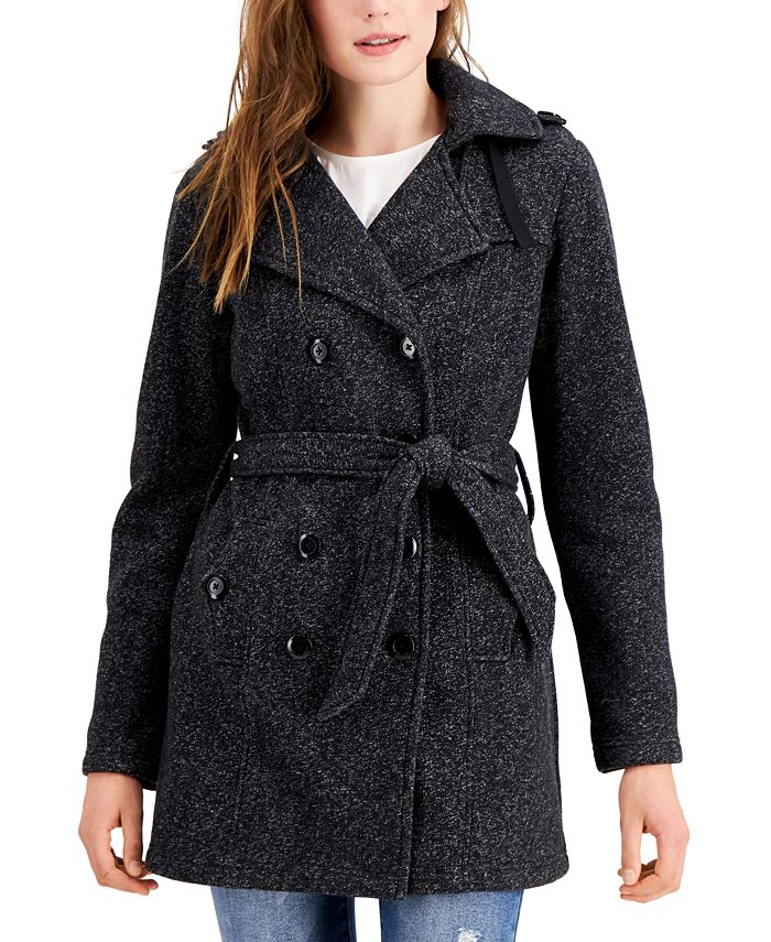 BCX - Juniors' Solid Double-Breasted Belted Fleece Coat
