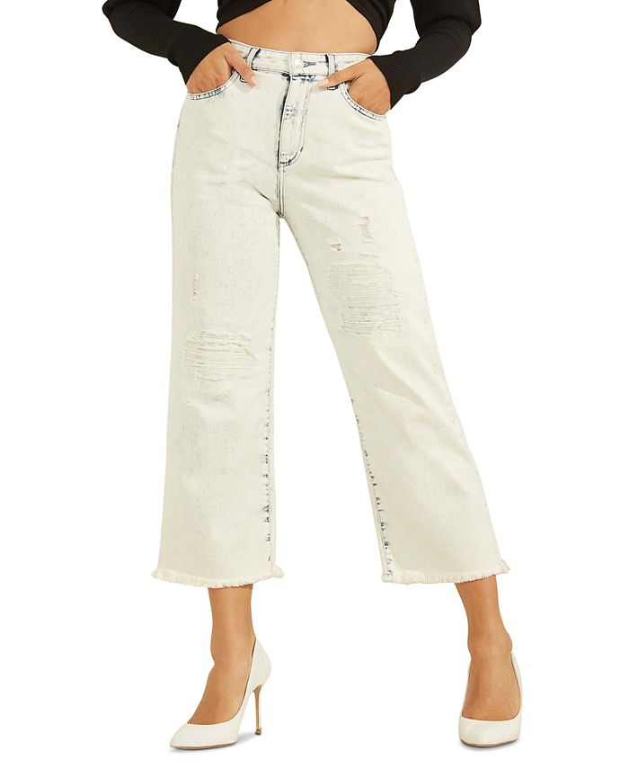 GUESS - Ripped Wide-Leg Cropped Jeans