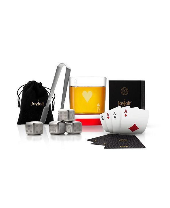 JoyJolt Poker Queen of Hearts Whiskey Gift Set