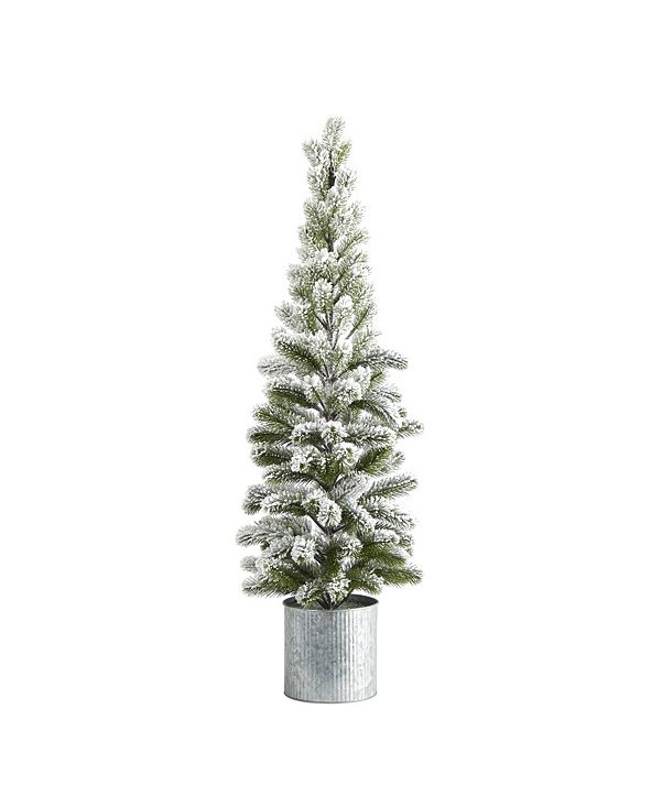 Nearly Natural Flocked Christmas Artificial Pine Tree in Tin Planter