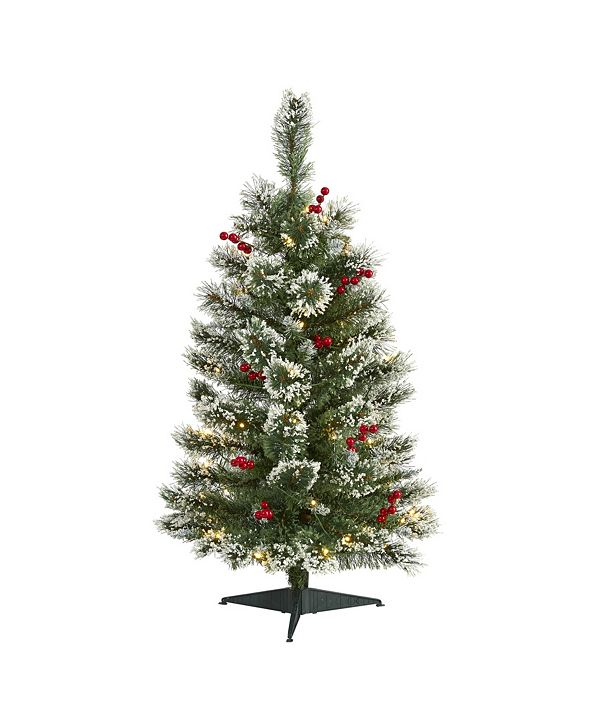 Nearly Natural Frosted Swiss Pine Artificial Christmas Tree with 50 Clear LED Lights and Berries