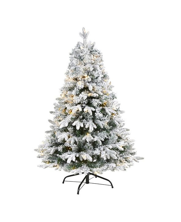 Nearly Natural Flocked Vermont Mixed Pine Artificial Christmas Tree with 100 Clear LED Lights