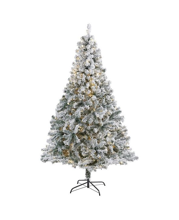 Nearly Natural Flocked Rock Springs Spruce Artificial Christmas Tree with 350 Clear LED Lights and 800 Bendable Branches