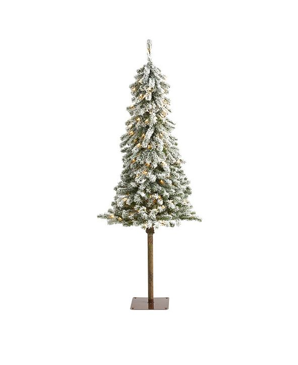 Nearly Natural Flocked Alpine Christmas Artificial Tree with 150 Lights and 405 Bendable Branches