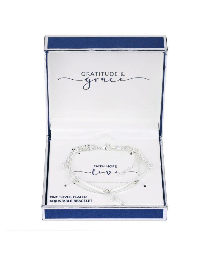 Unwritten Fine Silver Plated Triple Strand Cross Charm Bracelet & Reviews - Bracelets - Jewelry & Watches - Macy's