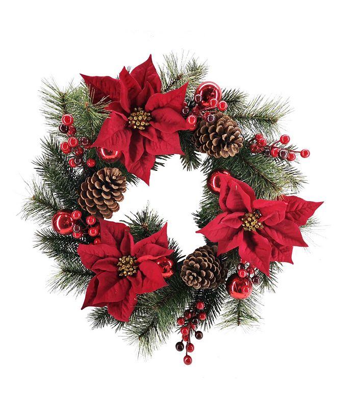 Martha Stewart Collection Martha Stewart Red Poinsettia Wreath, Created for Macys