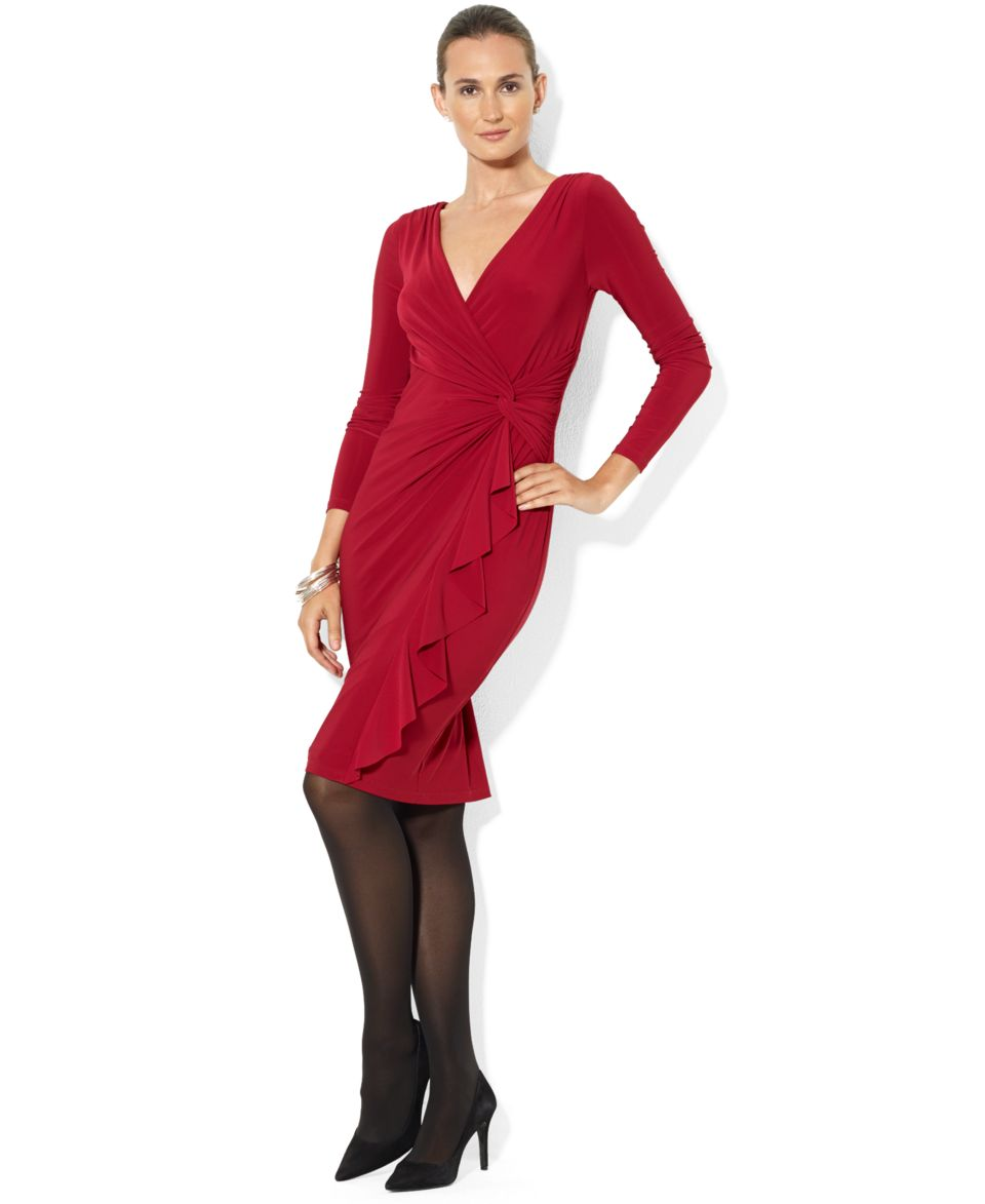 Lauren Ralph Lauren Petite Dress, Long Sleeve Ruffled Draped   Dresses   Women