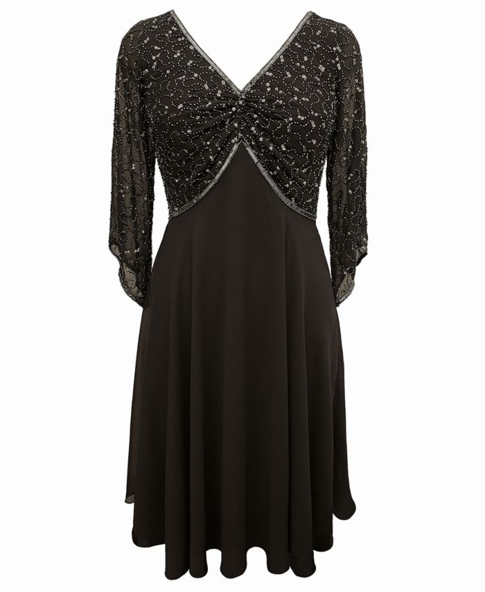 J Kara Embellished Chiffon Dress & Reviews - Dresses - Women - Macy's