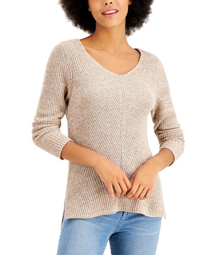Style & Co - Cotton Rib-Knit V-Neck Sweater