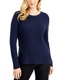 Karen Scott Long-Sleeve Asymmetrical Cable Sweater, Created for Macy's