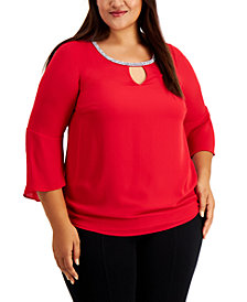 JM Collection Plus Size Bell-Sleeve Embellished-Trim Blouse, Created for Macy's