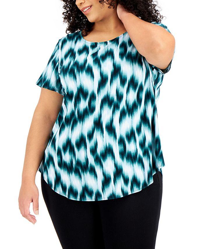 Alfani - Plus Size Printed Knit Top
