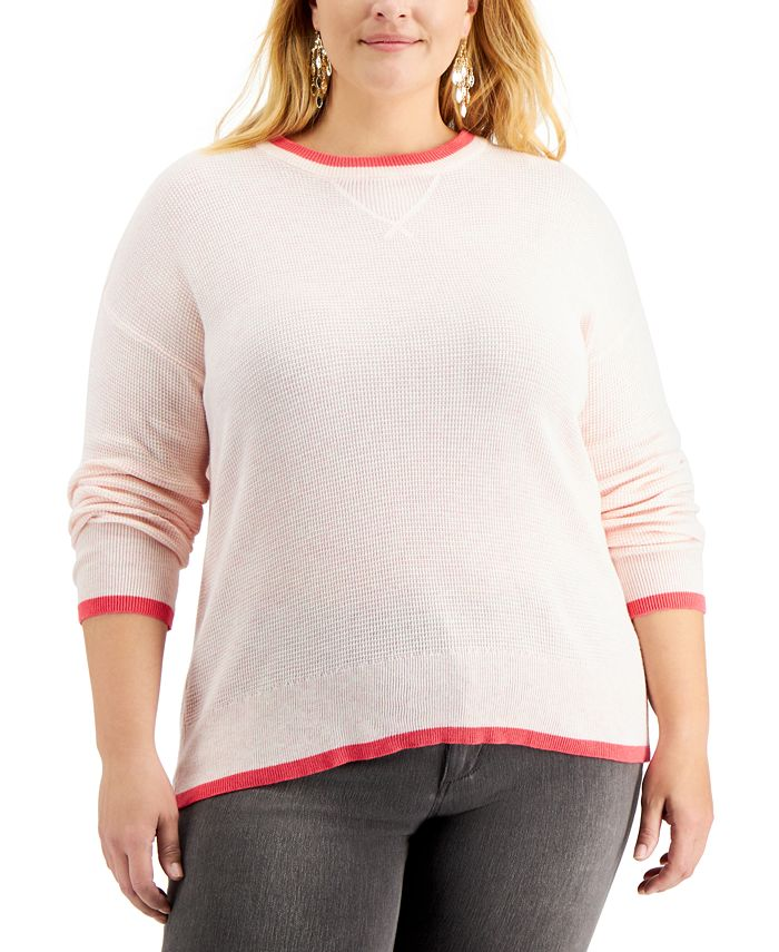 Style & Co - Plus Size Thermal Waffle Pullover Sweater