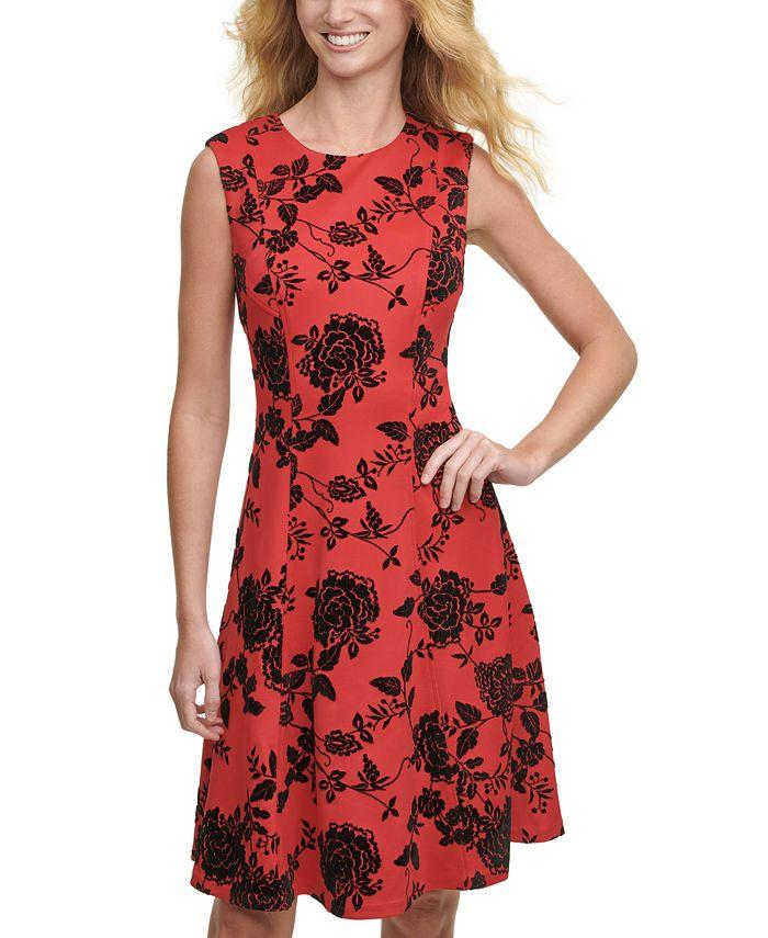 Tommy Hilfiger - Velvet-Flocked Shadow Floral Scuba Dress