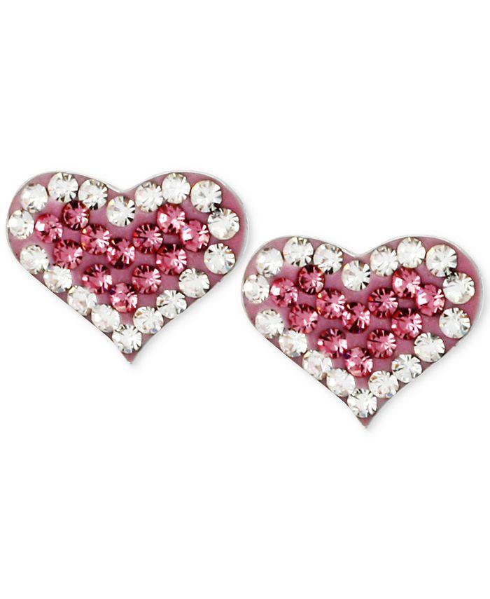 Betsey Johnson - Silver-Tone Heart Pink Crystal Stud Earrings