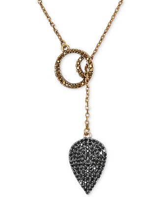 Lucky brand necklace gold tone pave crystal guitar pick for Macy s lucky brand jewelry
