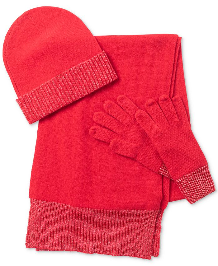 Charter Club - Cashmere Ribbed-Trim Hat, Scarf & Gloves Set