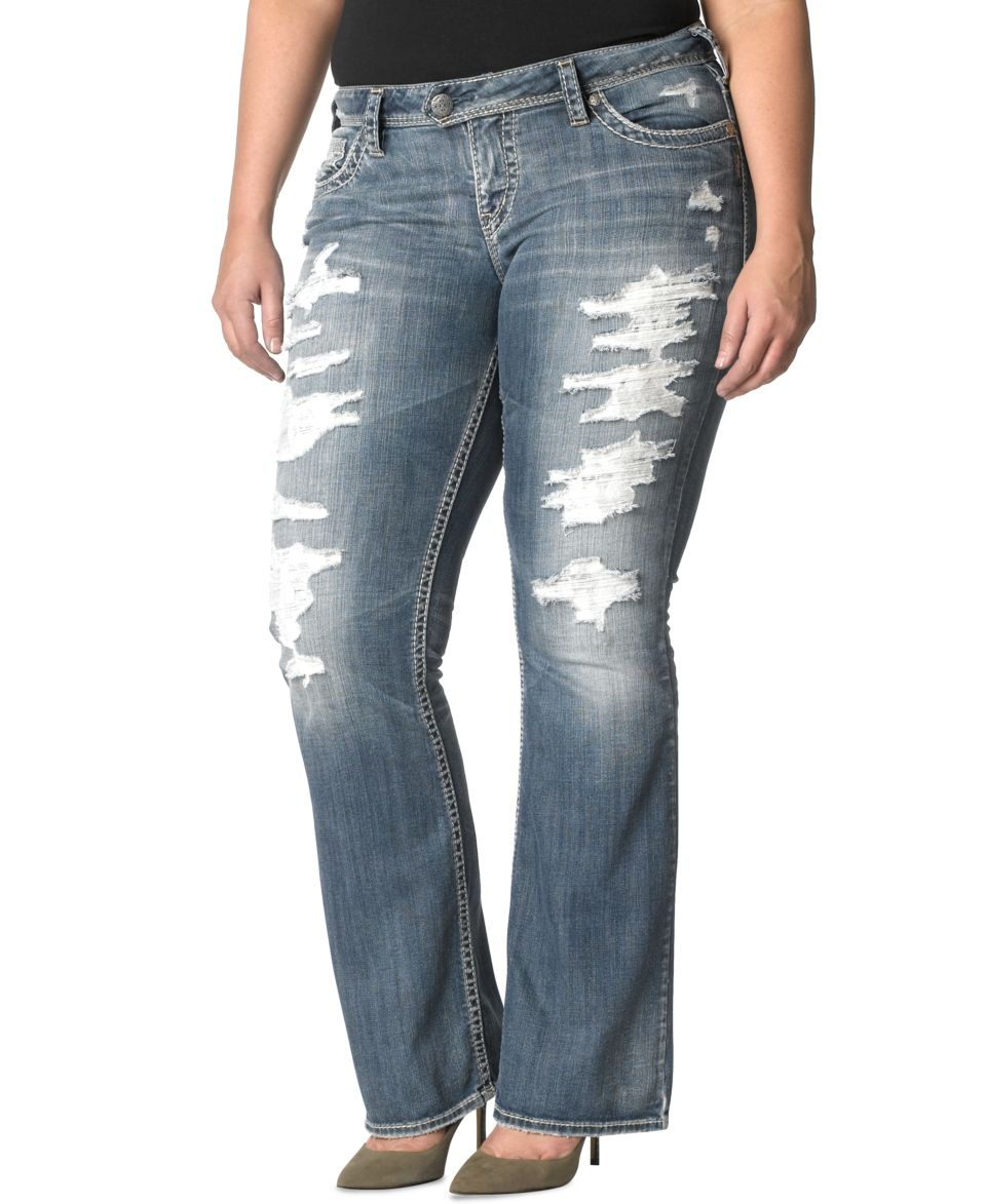84599476ccb75 Silver Jeans Plus Size Pioneer Destructed Bootcut Jeans