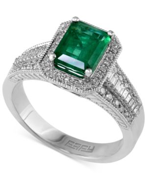 Emerald (1-3/8 ct. t.w.) and Diamond (3/8 ct. t.w.) Emerald-Cut Ring in 14k White Gold