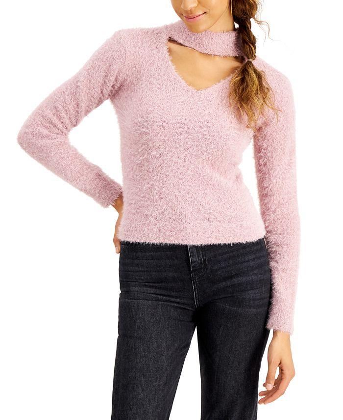 Planet Gold - Juniors' Eyelash Choker Sweater