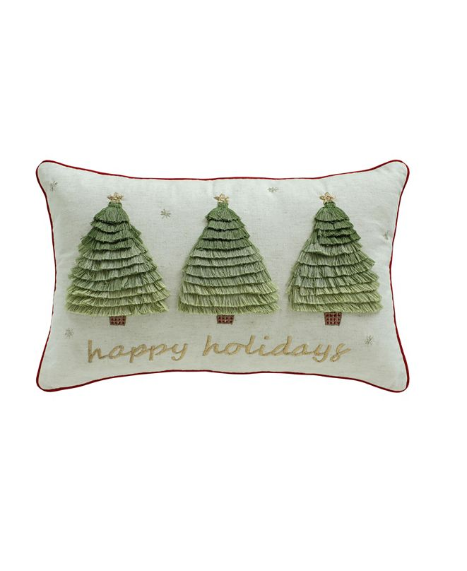 """Martha Stewart Collection Happy Holidays 14"""" x 22"""" Decorative Pillow, Created For Macy's"""