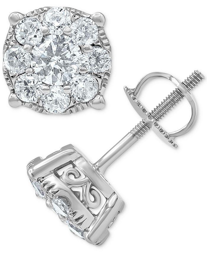 Macy's - Diamond Halo Stud Earrings (1-1/4 ct. t.w.) in 10k White Gold