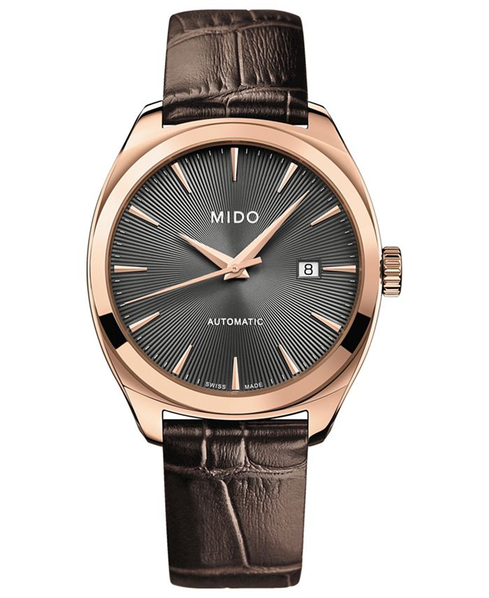 Mido - Men's Swiss Automatic Belluna Royal Brown Leather Strap Watch 41mm