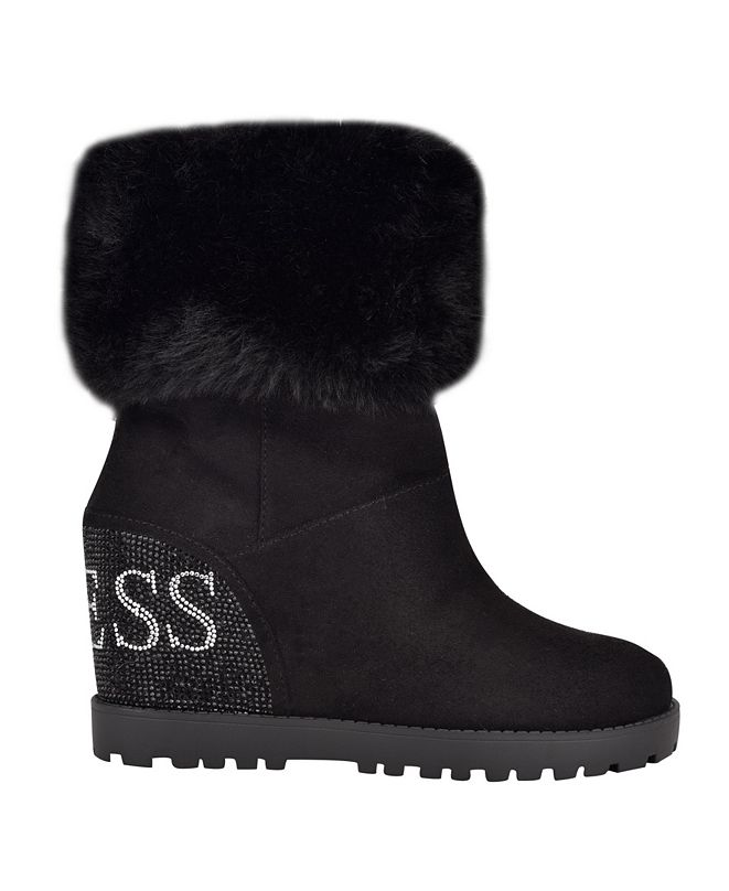 GUESS Women's Paulie Lug Sole Wedge Boots