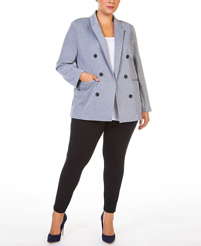 Black Tape - Plus Size Open-Front Textured Button-Front Twill Blazer