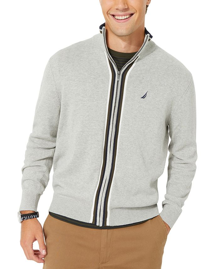 Nautica - Men's Active Trim Full-Zip Sweater