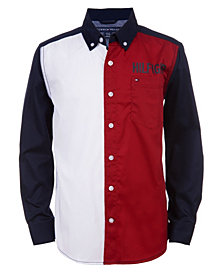 Tommy Hilfiger Big Boys Jude Long Sleeve Color-block Shirt