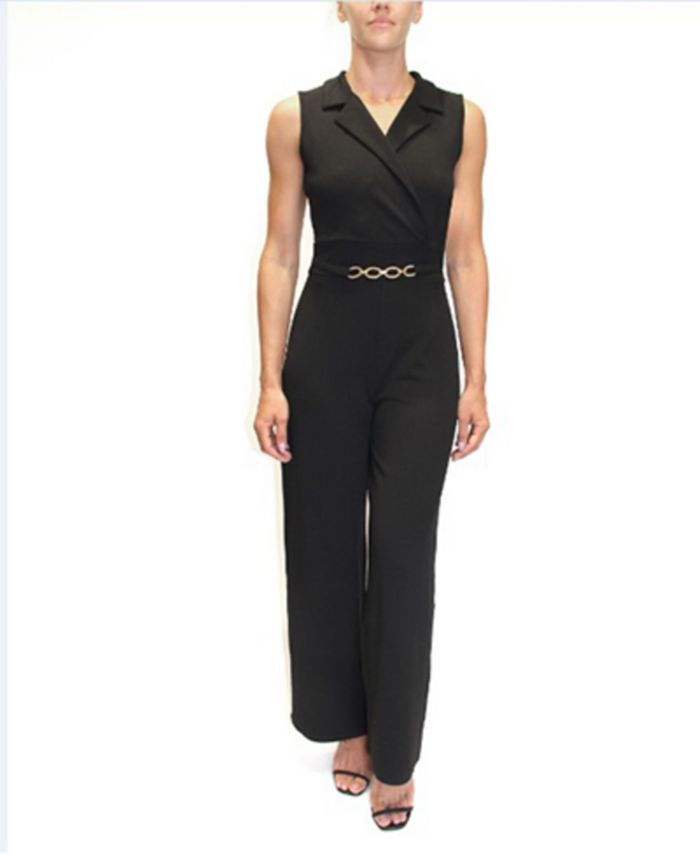 Almost Famous - Juniors' Belted-Detail Sleeveless Jumpsuit