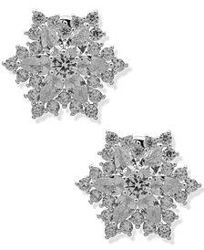 Anne Klein Crystal Starburst Button Clip-On Earrings