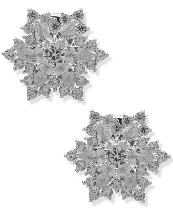 Anne Klein - Crystal Starburst Button Clip-On Earrings