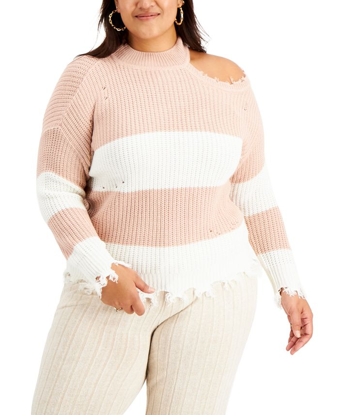 FULL CIRCLE TRENDS - Trendy Plus Size Asymmetrical Mock-Neck Distressed Sweater