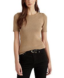 Lauren Ralph Lauren Button-Trim Metallic Sweater