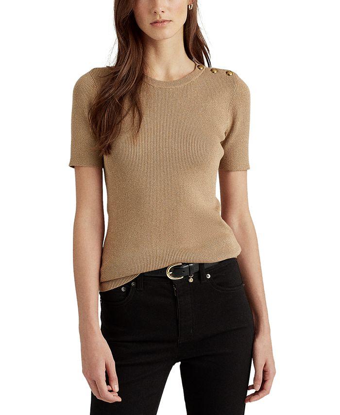 Lauren Ralph Lauren - Button-Trim Metallic Sweater