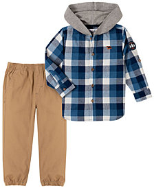 Kids Headquarters Baby Boys Woven Shirt with Hood and Jogger Pant Set