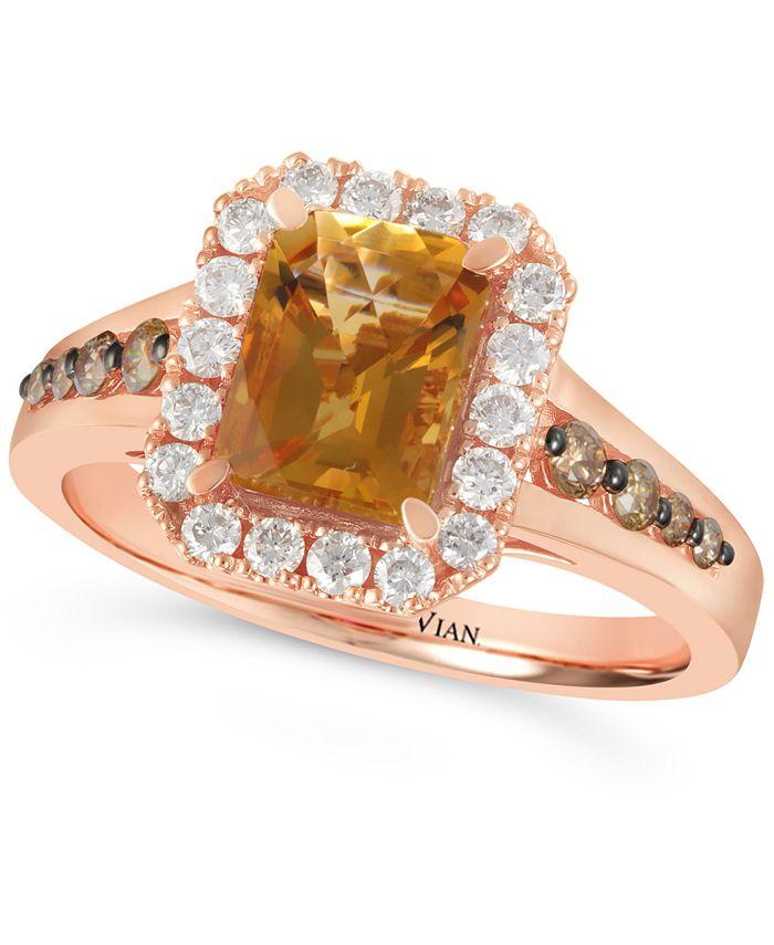 Le Vian - Cinnamon Citrine (1-1/3 ct. t.w.) & Diamond (1/2 ct. t.w.) Ring in 14k Rose Gold