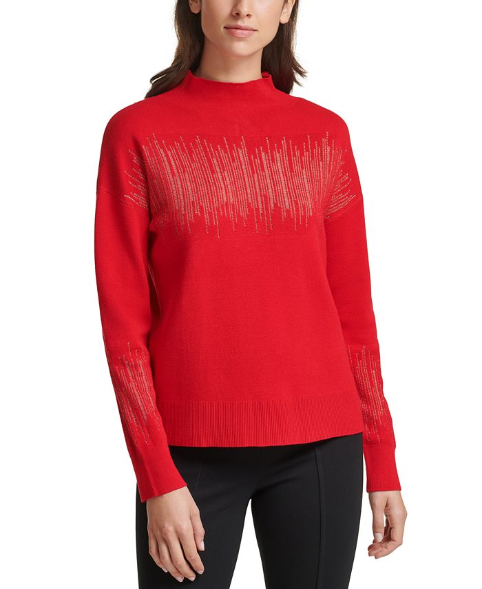 Calvin Klein - Metallic-Stripe Mock-Neck Sweater