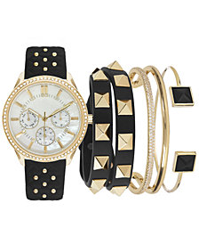 Jessica Carlyle Women's Black Strap Watch 38mm Gift Set