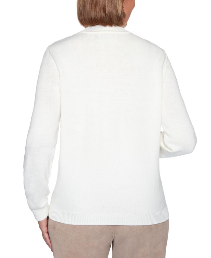 Alfred Dunner Petite Dover Cliffs Floral Embroidered Sweater & Reviews - Sweaters - Petites - Macy's