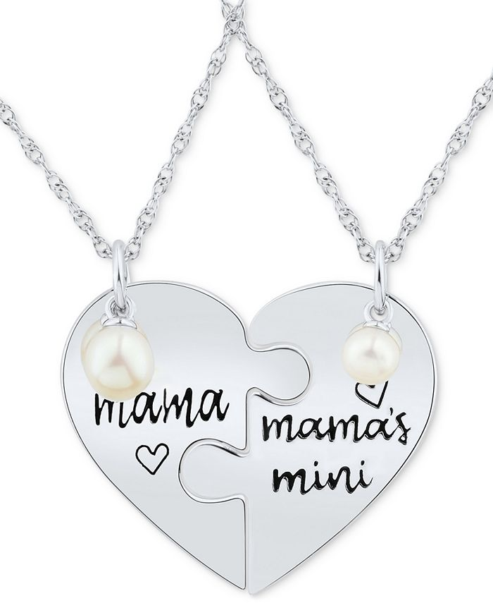 """Macy's - 2-Pc. Set Cultured Freshwater Pearl (4mm & 5-1/2mm) Mama & Mama's Mini Heart Puzzle 18"""" Pendant Necklaces in Sterling Silver"""